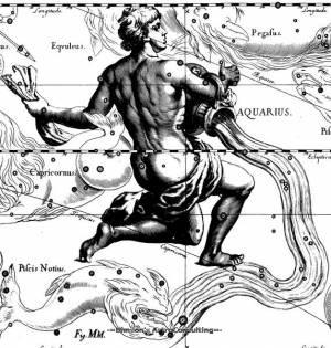 Созвездие Водолей на карте Гевелиуса
